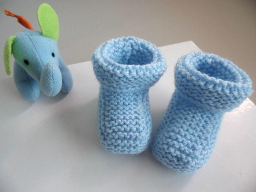 Chaussons Bleus Baby à revers tricot laine bébé fait main : Mode Bébé par bleu-blanc-neige