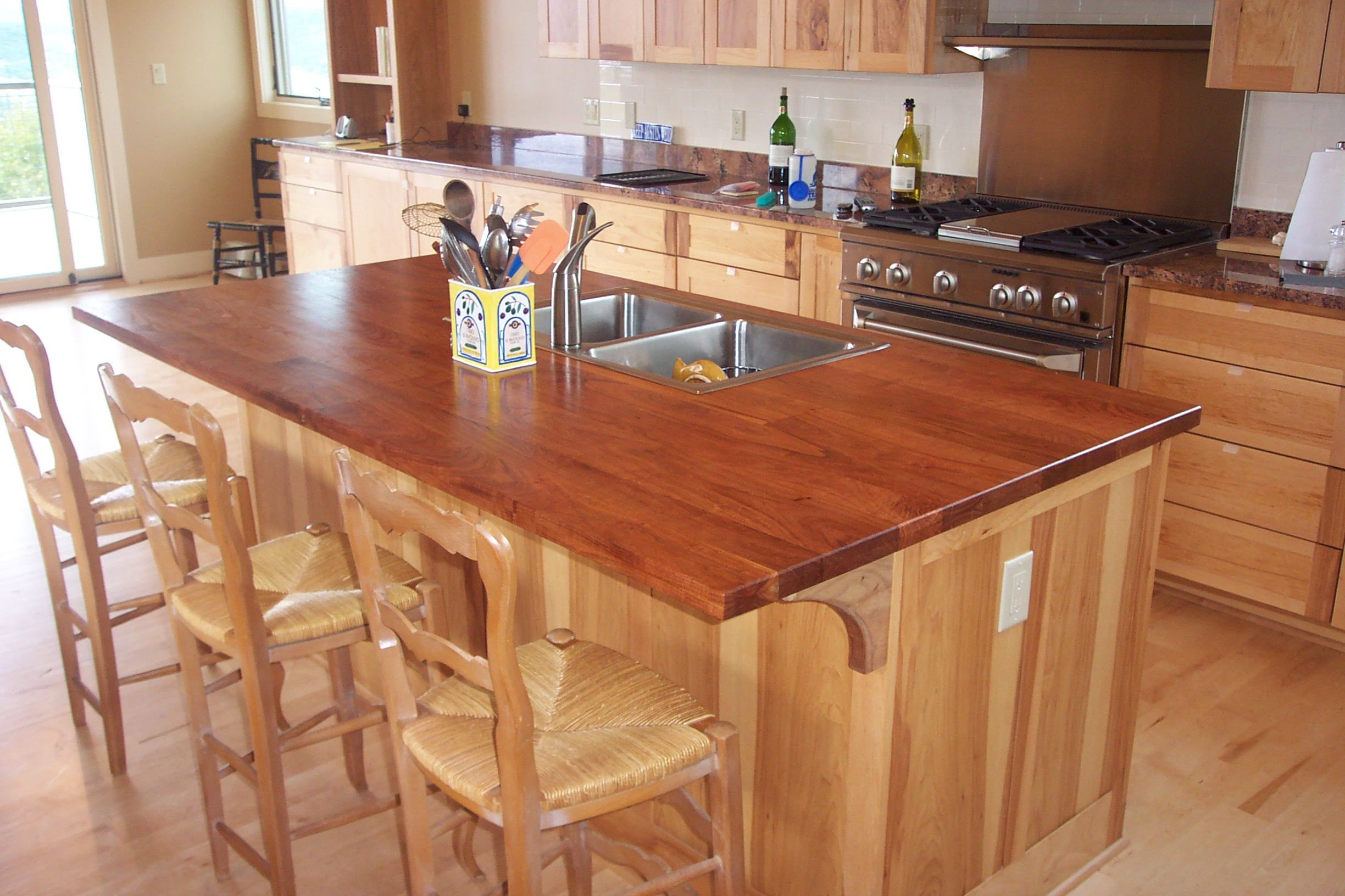 Mesquite Face Grain Or Plank Style Center Island Top With Under Mount Stainless Sink Seating Area On One Kitchen Countertops Traditional Kitchen Countertops