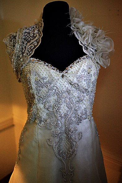 Lace And Embroidery On Pina Wedding Gown
