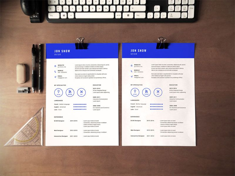 Free Blue Resume Template In Psd File Format  Free Resume