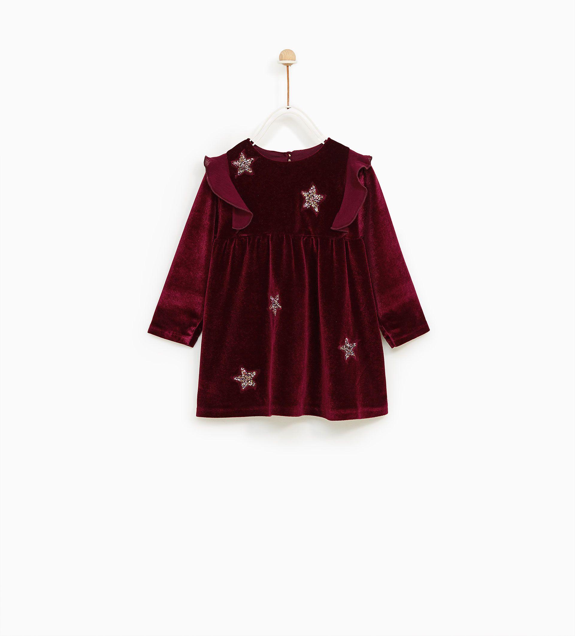 Image 2 of VELVET DRESS WITH STAR APPLIQUÉS from Zara | 아기옷