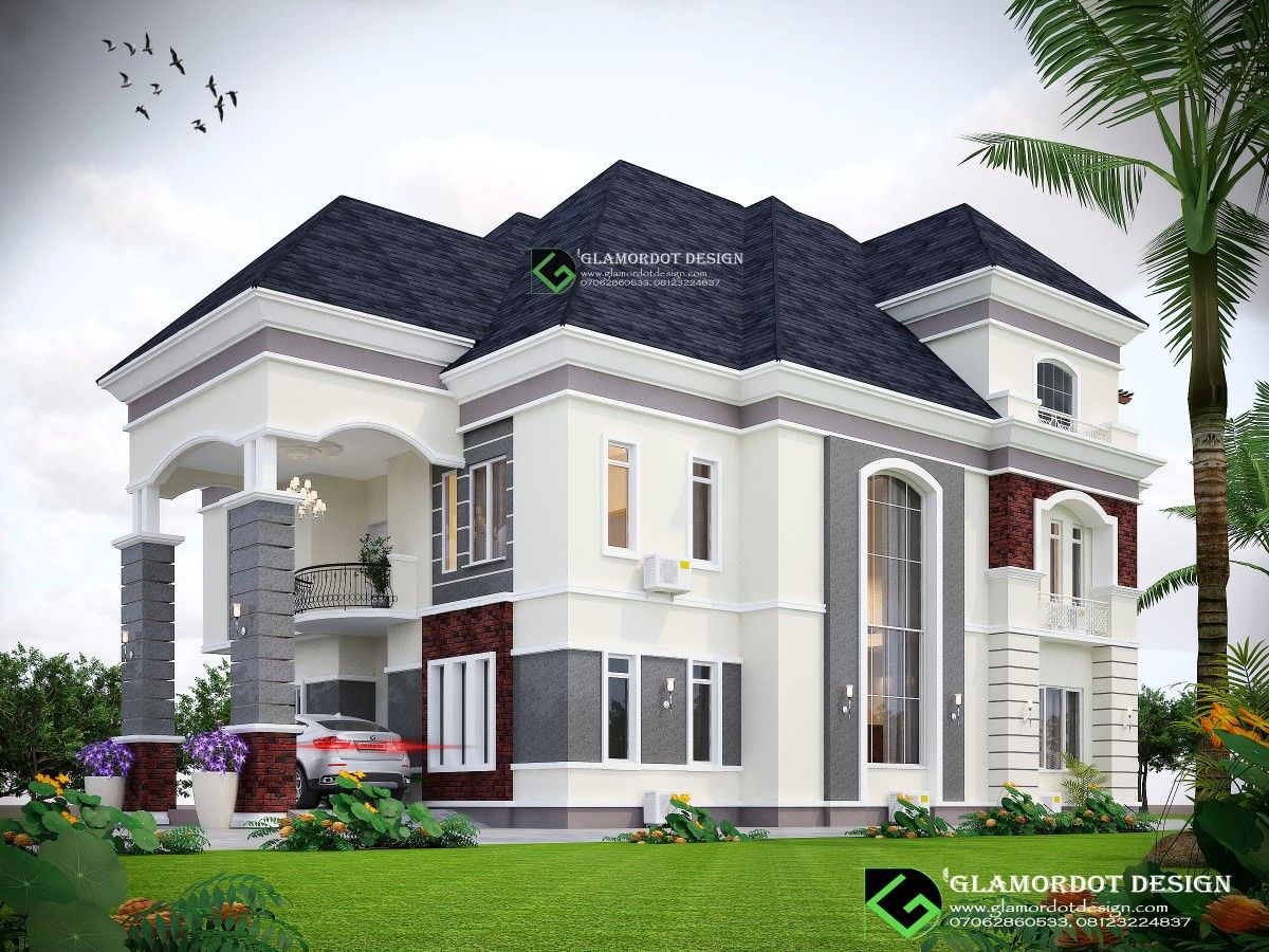 Architectural Design Of A Proposed 6 Bedroom Duplex With Pent House Enugu Nigeria For Inquiri Beautiful House Plans Duplex House Design Bungalow House Design