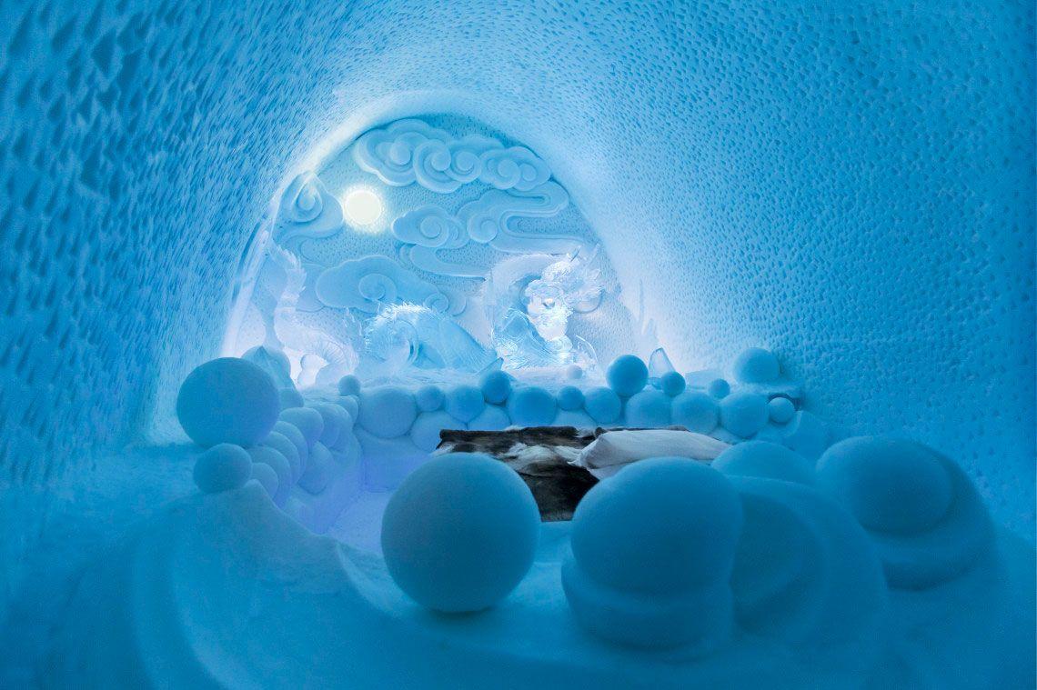 Ice Hotel in Jukkasjärvi, Sweden. Art suite Dragon Nest by Bazarsad Bayarsaikhan