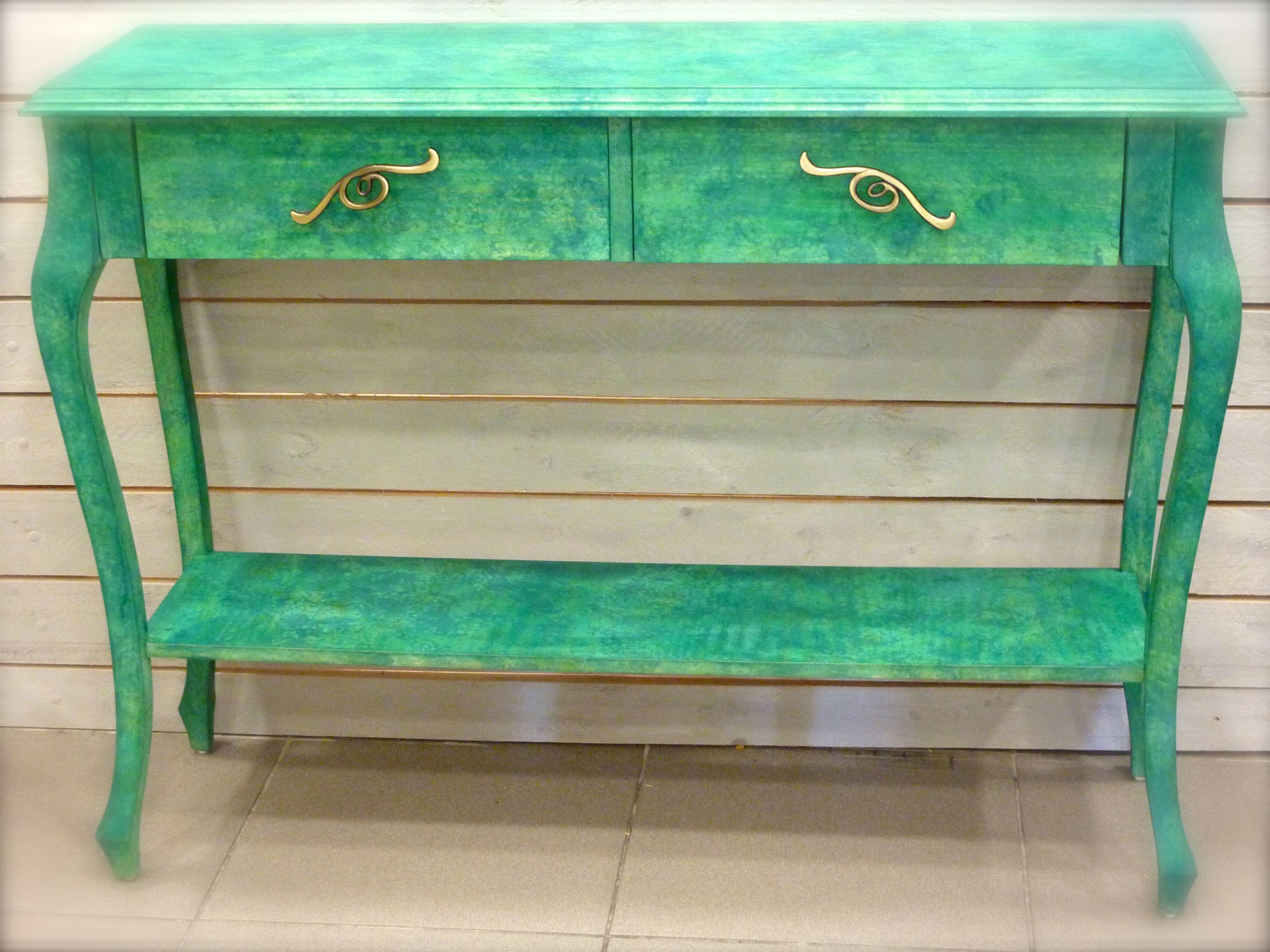 Consola Verde Pintada A La Esponja Con Pigmentos Naturales My  # Muebles Gastados