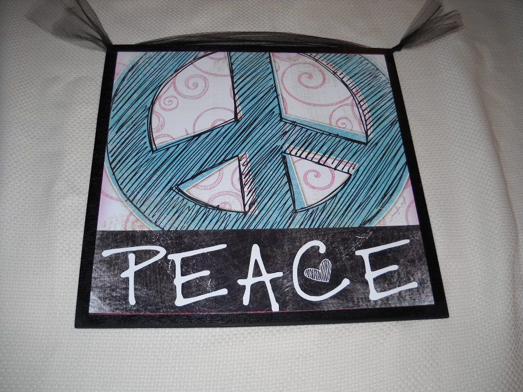 Aqua blue and black peace sign wooden girls bedroom wall art teen