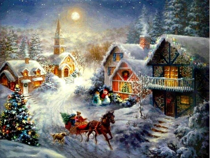 beautiful christmas scene desktop background winter scenery