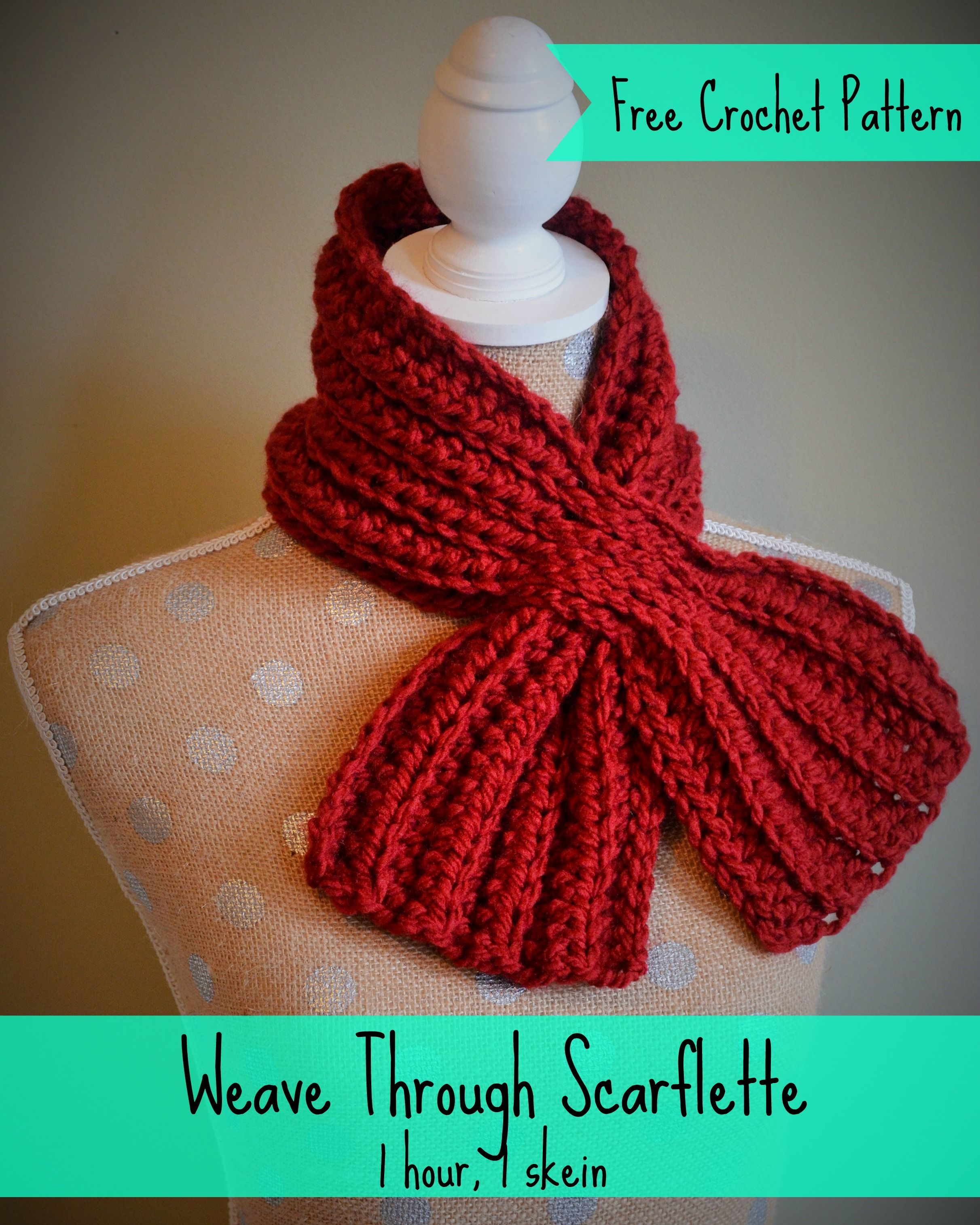 Free crochet pattern. One hour, one skein scarflette. Perfect DIY ...