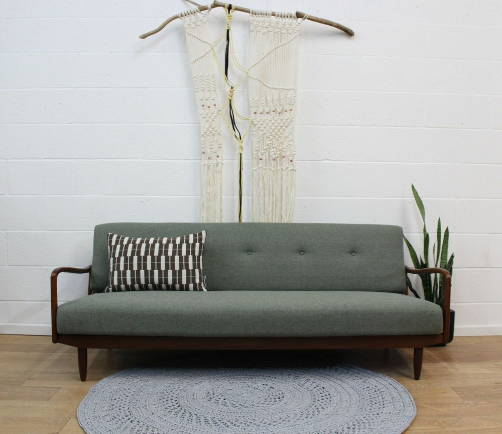 Fully Red Vintage Greaves Thomas Sofa Bed 1960s Retro