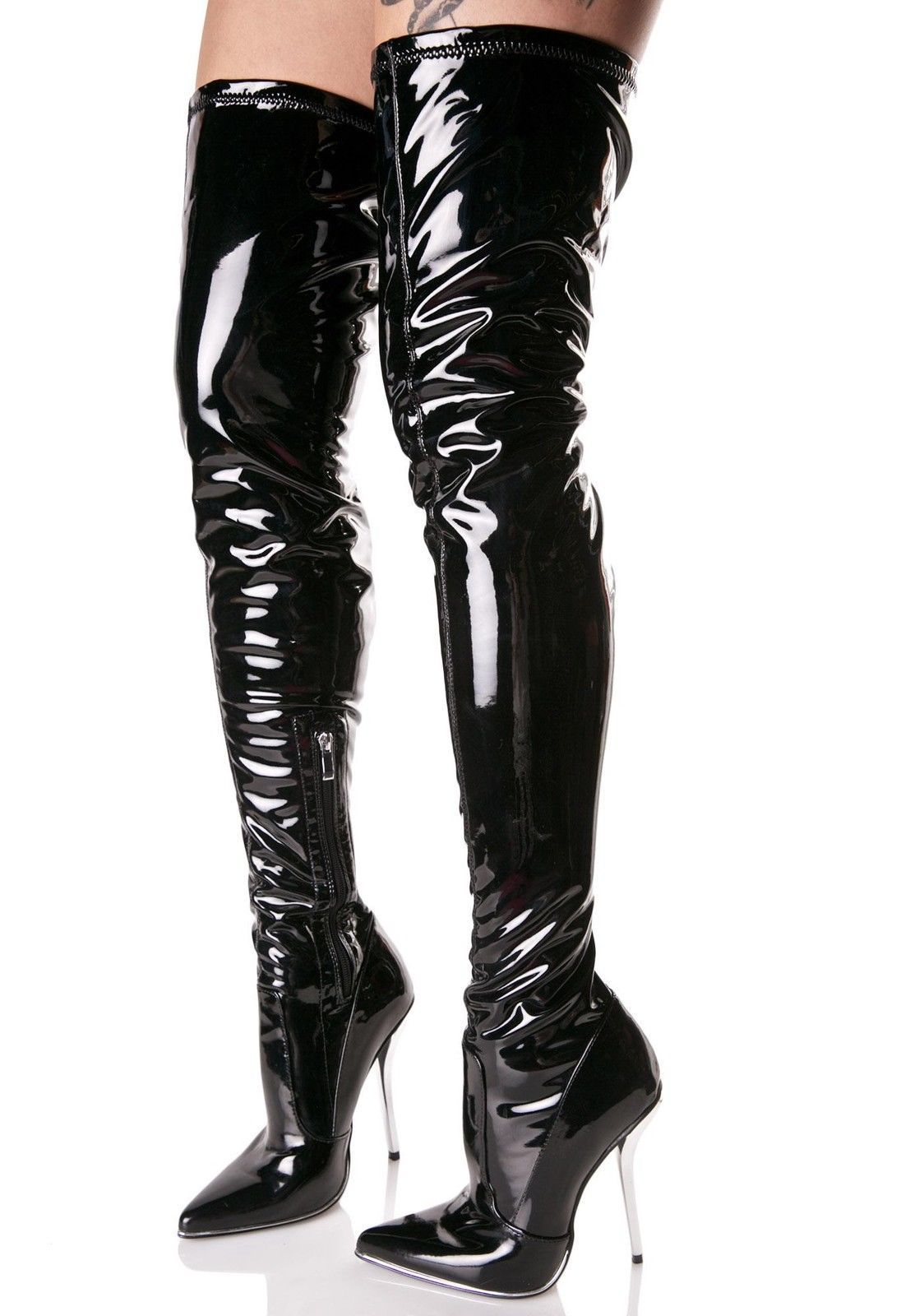3c55db132 Luichiny More Or Less Manic Thigh-High Boots Glossy Patent Pointed Toe  Stilleto