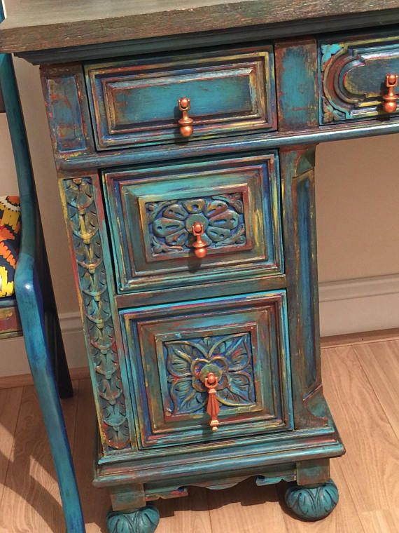 Sold Turquoise Blue Desk Boho Furniture