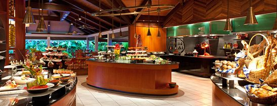 Buffet Set Up Design For All Day Dining At Sheraton Maldives With Elevations And Stands Glass Serving Bowls Platters