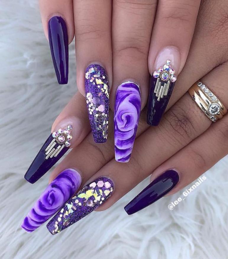 Favored Purple Coffin Nails Design In 2019 Purple Nail Designs Purple Nails Coffin Nails Designs