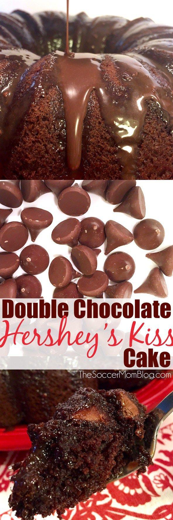 Double Chocolate Hershey's Kiss Cake   Recipe   Perfect chocolate ...