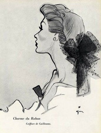 Guillaume Coiffure Illustrated By Rene Gruau 1952 Illustration Fashion Art Illustration Fashion Illustration Vintage