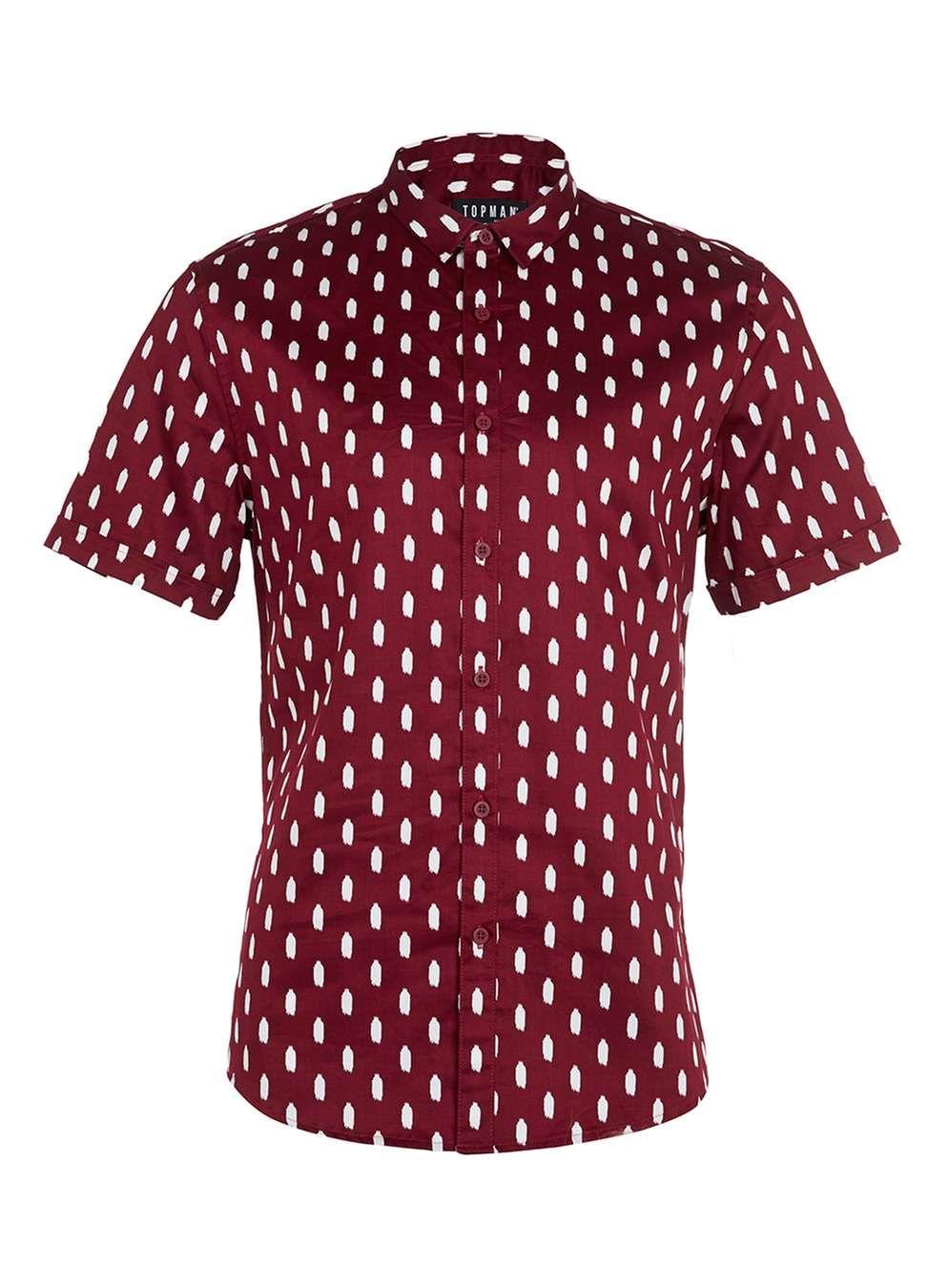 Burgundy Paint Print Short Sleeve Smart Shirt - Men's Shirts ...