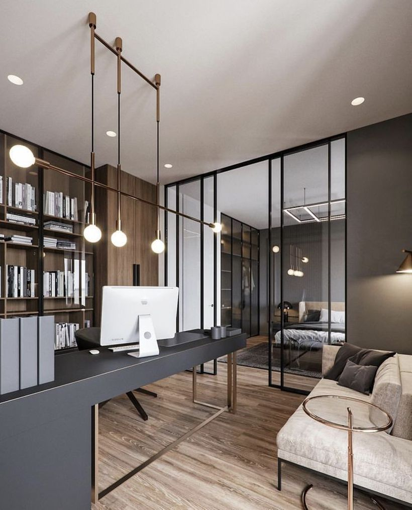 36 Affordable Home Office Decoration Ideas To Give You Chance To Do Some Business At Home In Modern Ti Bureaux Maison Modernes Bureau A Domicile Maison Moderne
