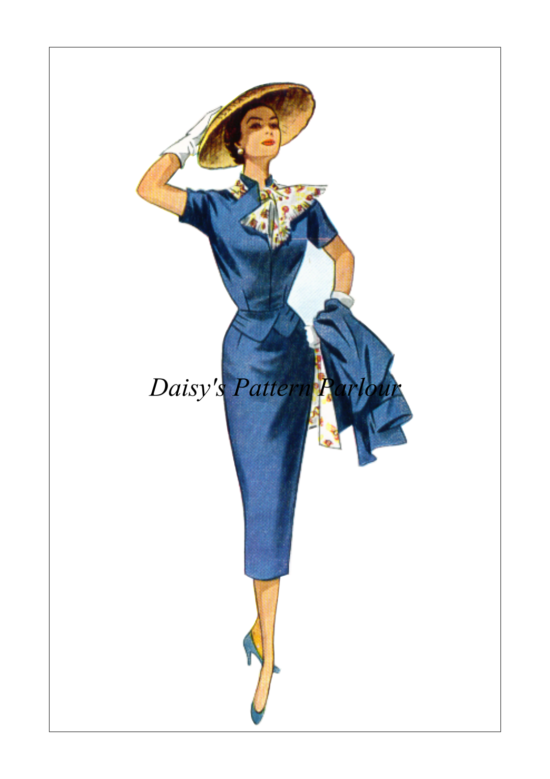 1950 Vintage Sewing Pattern Dress Peplum Scarf Wiggle Sheath Skirt ...