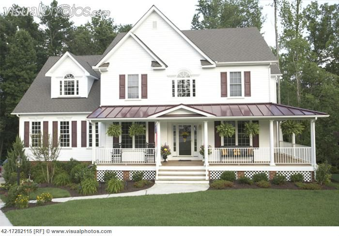 Wrap Around Porch Country Style House Houses