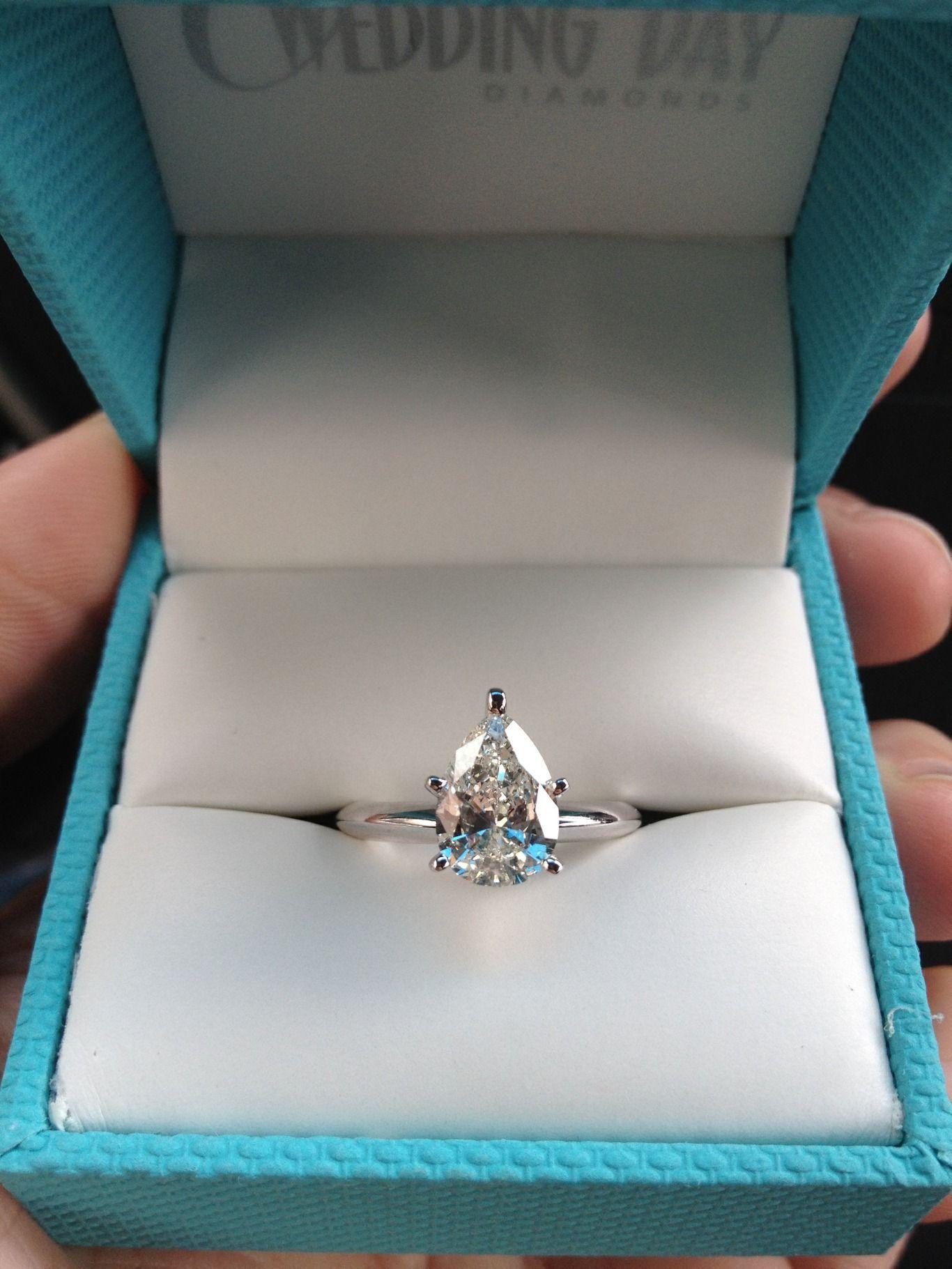 1 Carat E SI2 Pear Shape Natural Diamond Engagement Ring 14K White