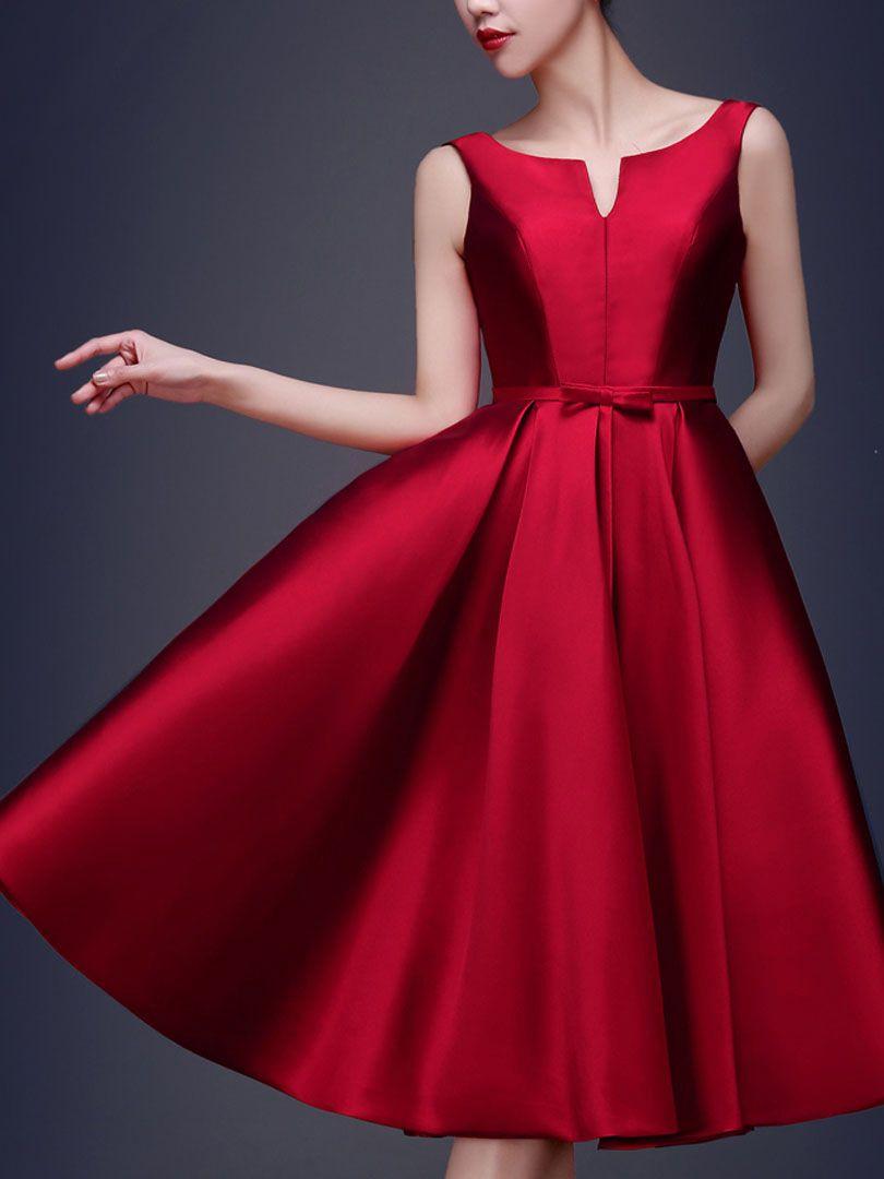 Wine Red Bowknot Waist Lacing Back Sleeveless Midi Prom Dress Choies Com Ropa Moda Femenina Vestidos De Dama