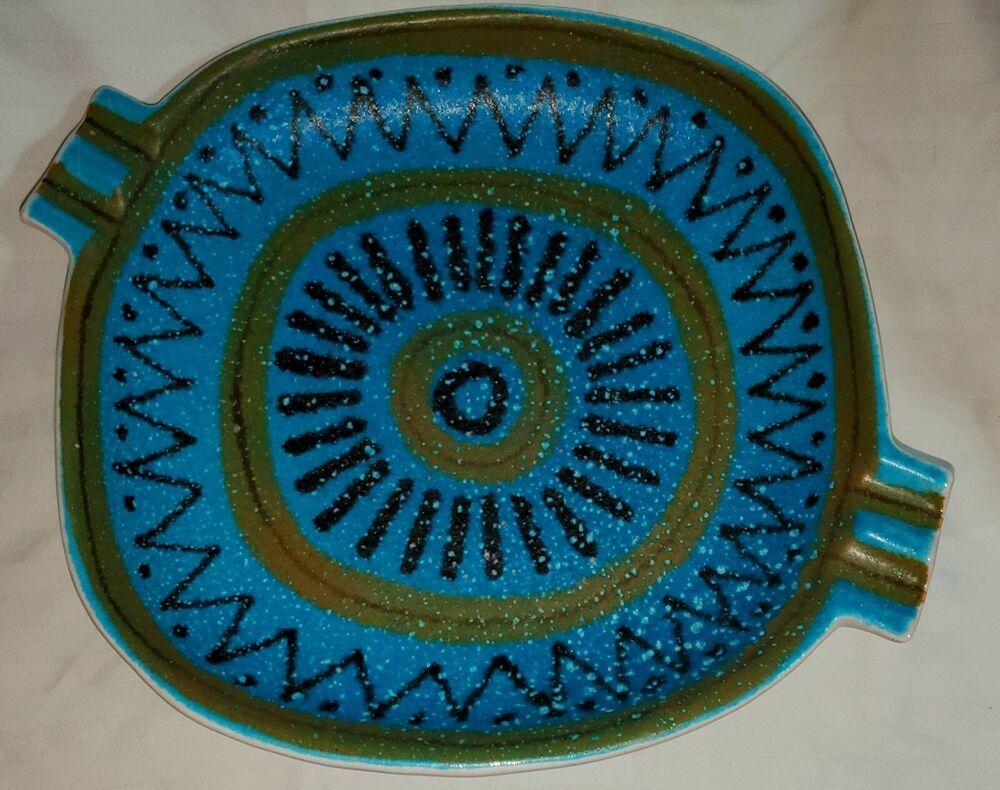 Vintage Raymor Italy Lg Rimini Blue Ceramic Ashtray Raymor Blue