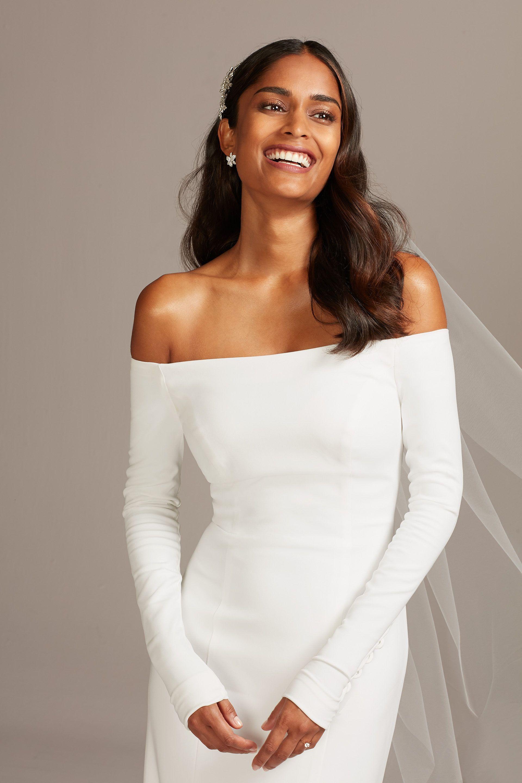 13++ Off the shoulder long sleeve low back wedding dress ideas