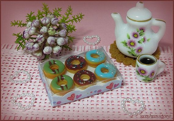 1:12 dollhouse miniature donuts doughnuts in a box by sashasstore