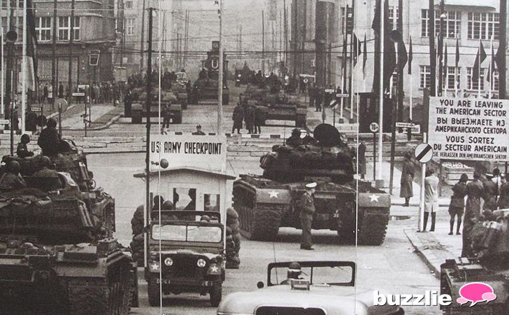 Cold War Standoff  US Tanks facing Soviet Union Tanks at Checkpoint Charlie in Berlin (1961)
