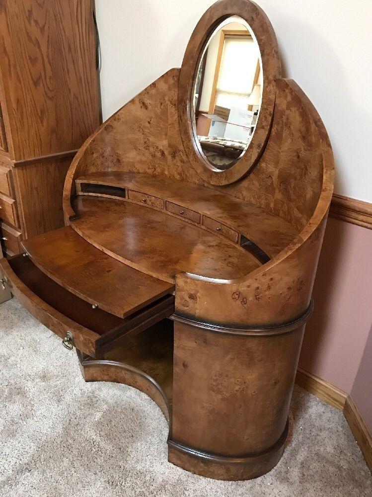 Pleasing Gorgeous Biedermeier Style Mcm Curved Burl Wood Vanity Desk Machost Co Dining Chair Design Ideas Machostcouk