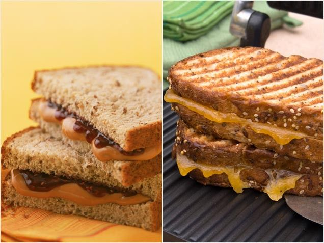 Choose Foods Lower in Cholesterol: Peanut Butter and Jelly on Whole Wheat vs. Grilled Cheese on Whole Wheat