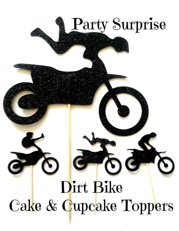 Dirt Bike Cake and Cupcake Toppers Bicycles Bikes by PartySurprise