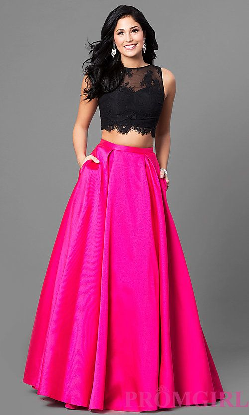 Long Two-Piece Lace Bodice Prom Dress with Pockets | Prommmm ...