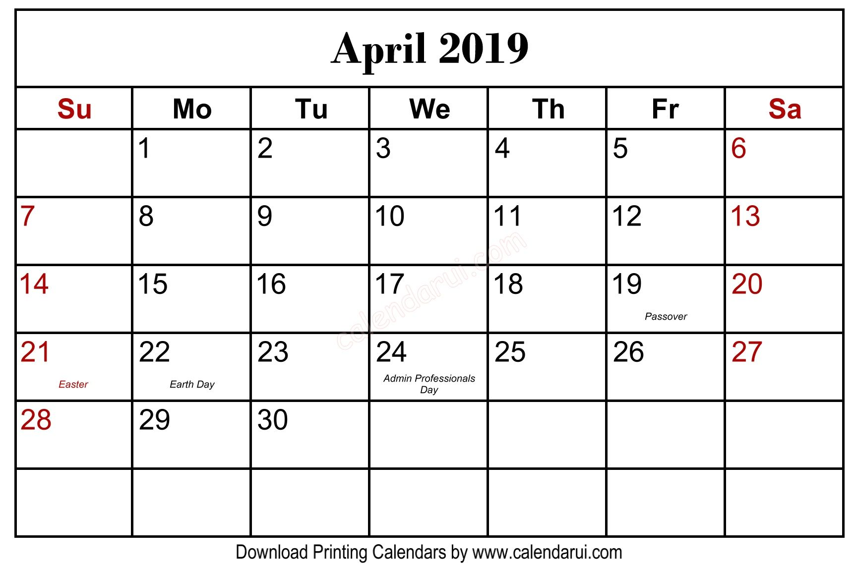Get Free April 2019 Calendar Holidays Blank Calendar Template