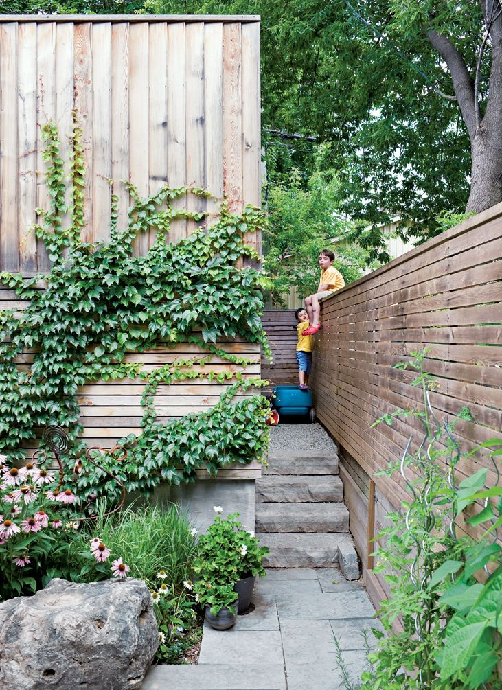 In the back, ivy climbs across the garage's raw cedar cladding next to a gate that allows access to the laneway—but the boys prefer to climb the fence.