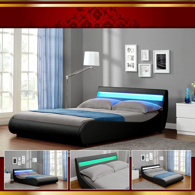 VENEDIG LED Luxus 140x200 Schwarz Polsterbett Doppelbett