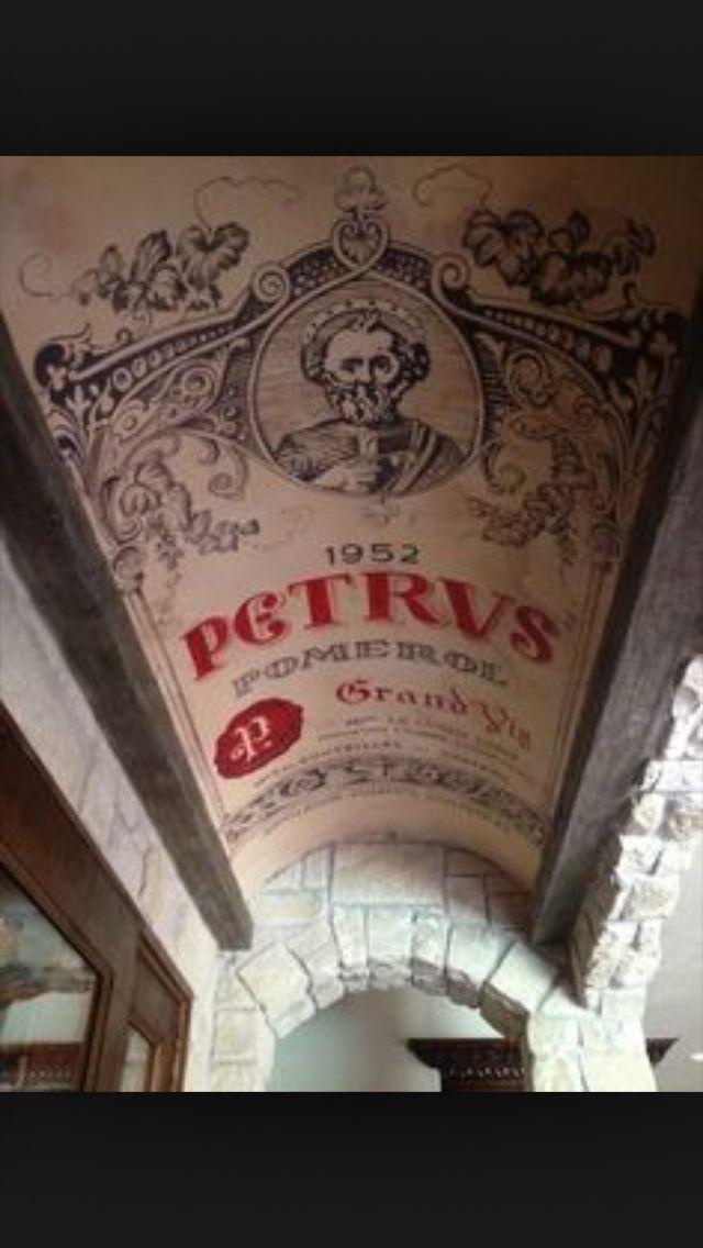 Wine label ceiling