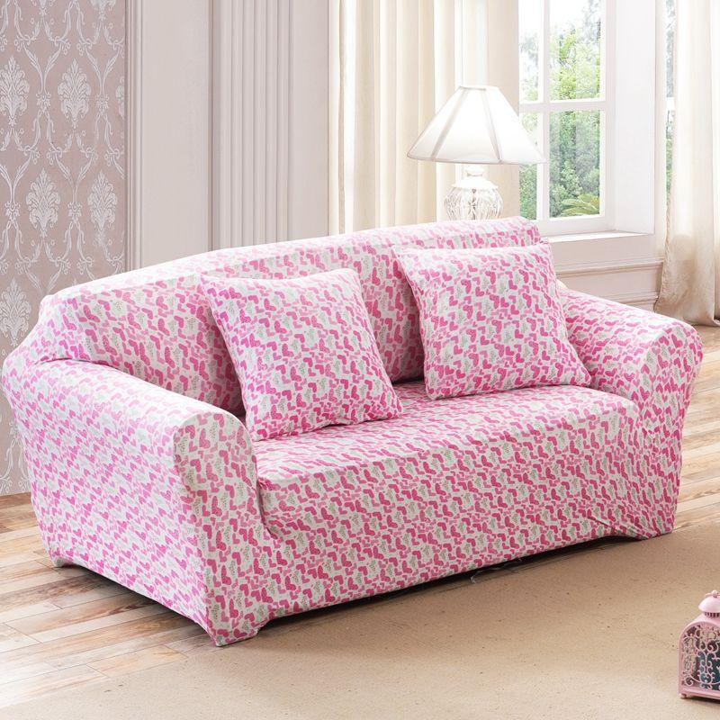 25-46USD Pink heart pattern print stretch sofa cover elastic corner ...