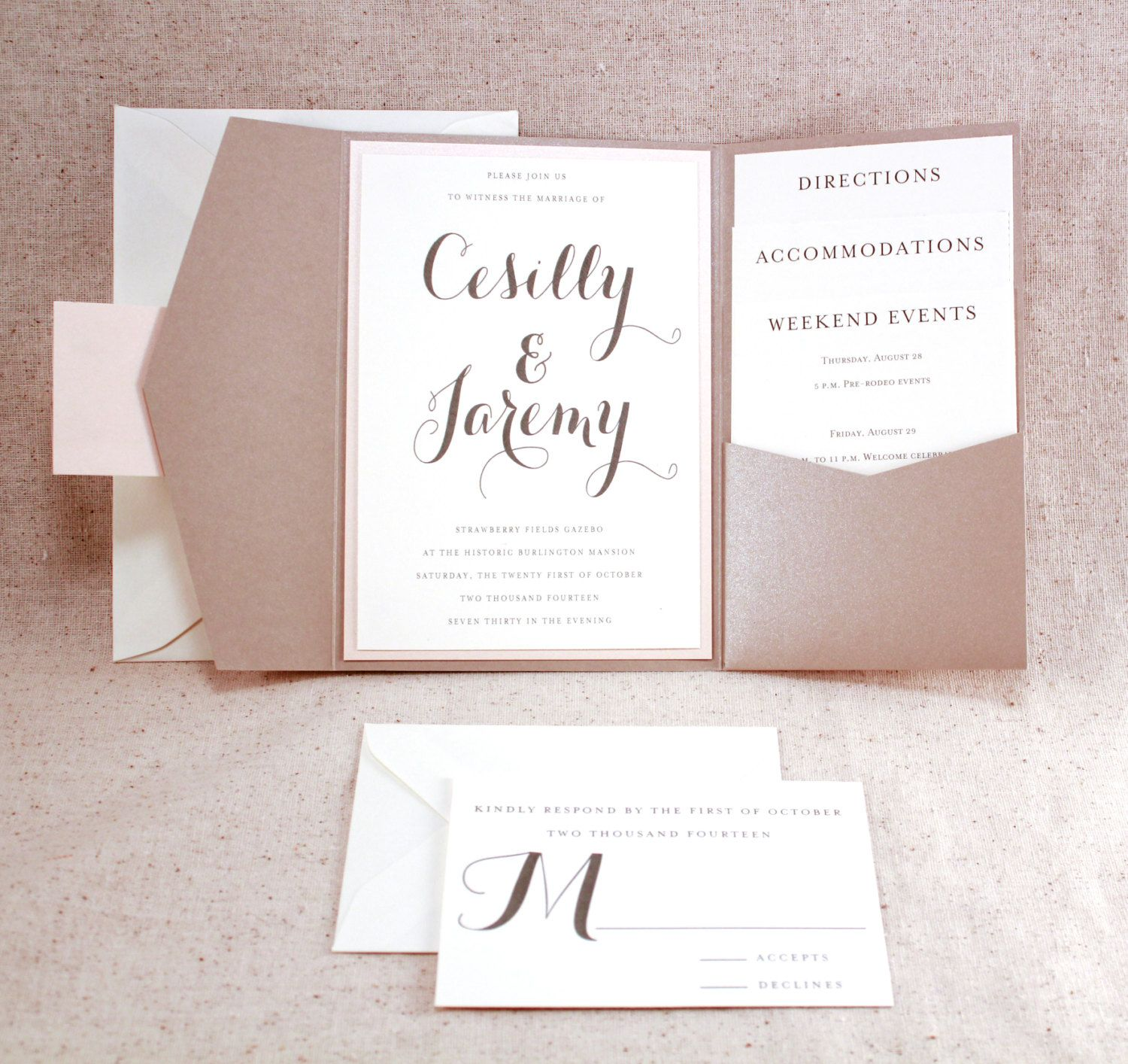 wedding invitation set sophisticated elegance graham cracker beige pocket fold invite set with pale