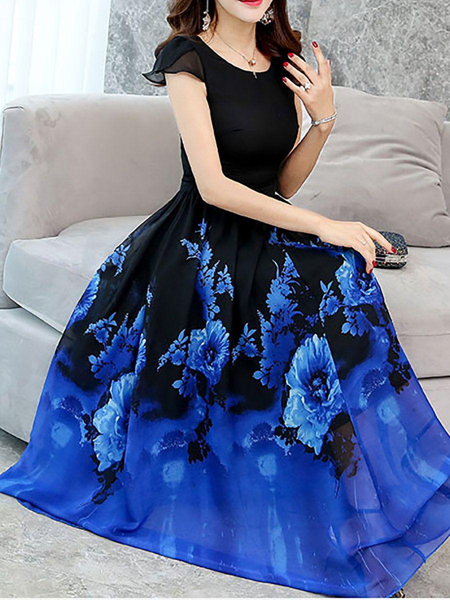6b5ef828ea7 A-line Printed Chiffon Maxi Dress - StyleWe.com