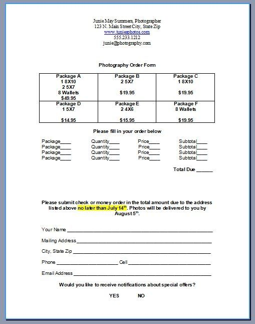 How To Create A Photography Order Form Photography Order Form
