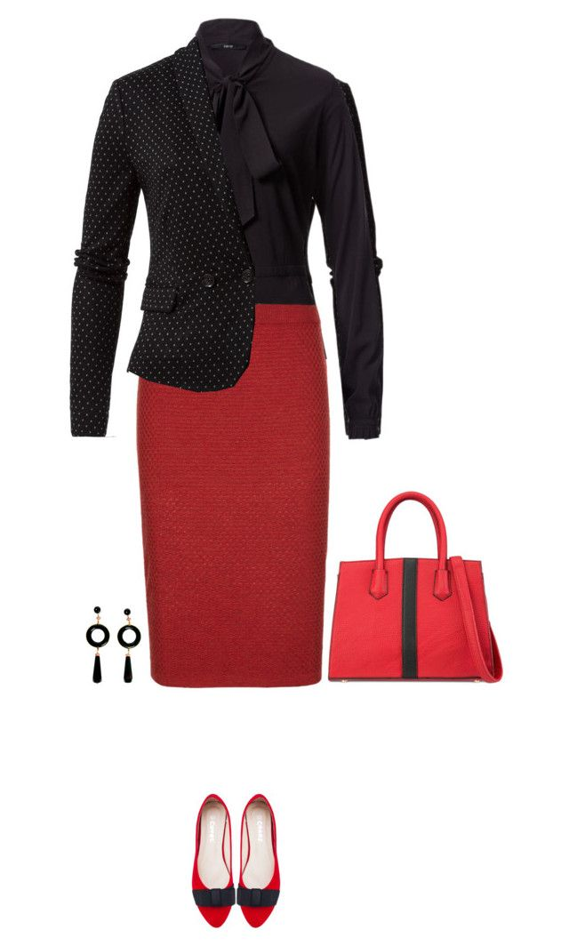Office outfit: Black - Red by downtownblues on Polyvore