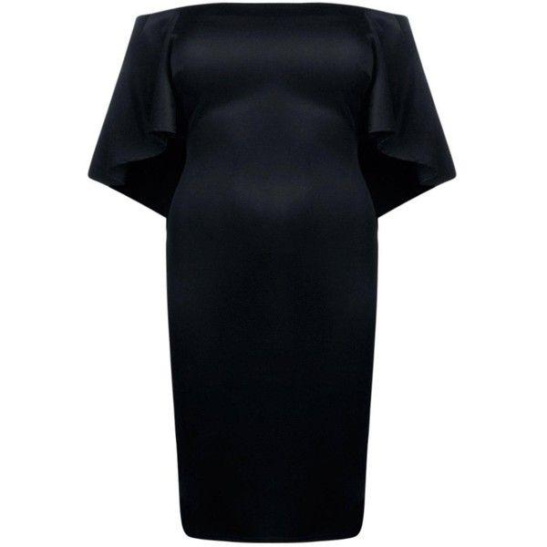 Boohoo Plus Emma Choker Detail Drape Sleeve Midi Dress | Boohoo (60 AUD) ❤ liked on Polyvore featuring dresses, drape sleeve dress, calf length dresses, drapey dress, midi dresses and boohoo dresses