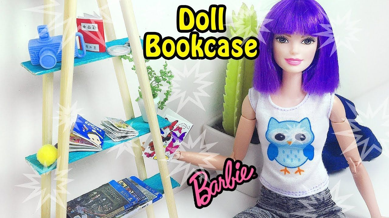 DIY Barbie Doll Bookcase - How to Make Doll Furnitures   Fashion