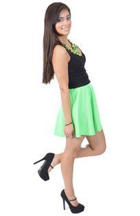 Neon Green Skirt, Black Tank, Green Accessories, Summer Fashion, Summer 2014, www.threeclothing.com