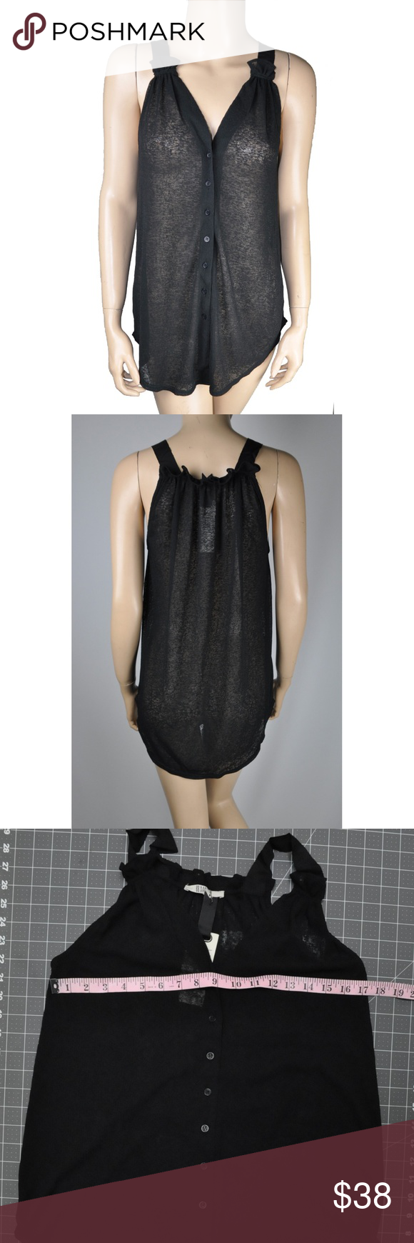 9e1a08a7ecd853 Black Sheer Transparent Button Up Tank Top Shirt Description  Black Sheer  Transparent Button Up Tank Top Shirt Brand  BB Dakota Size  Small Color   Black ...