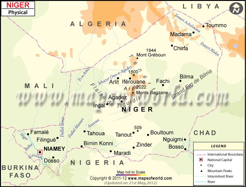 Physical Map of Niger | Maps | Map, Physics, Mountain range