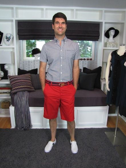 Styled three looks with one pair of bold red shorts. | Men's Style ...