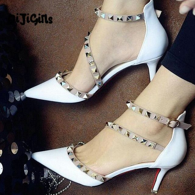 34c5a132c9 NEW woman High heels shoes Ladies Sexy Pointed Toe pumps Buckle rivets nude  heels dress wedding shoes