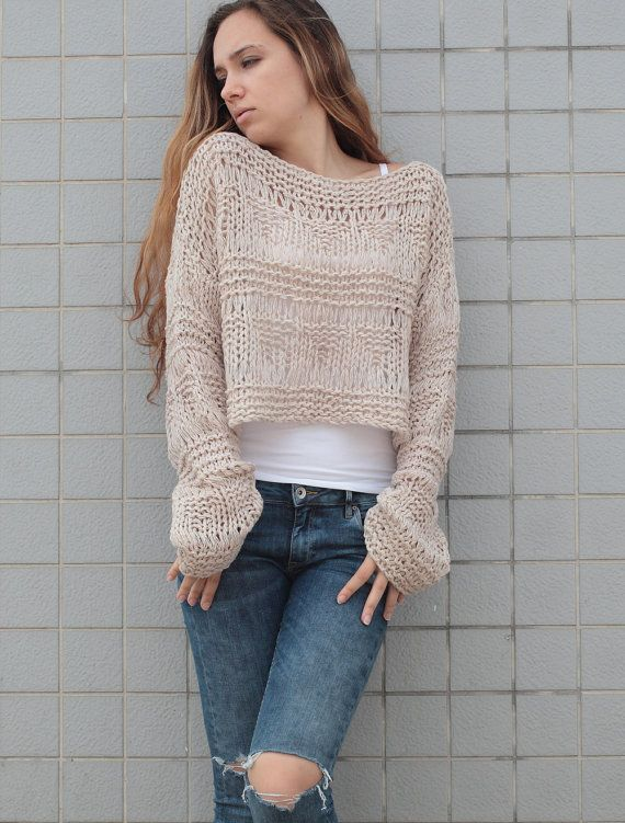 Hand knit sweater wool woman sweater cropped sweater Wheat pullover ...