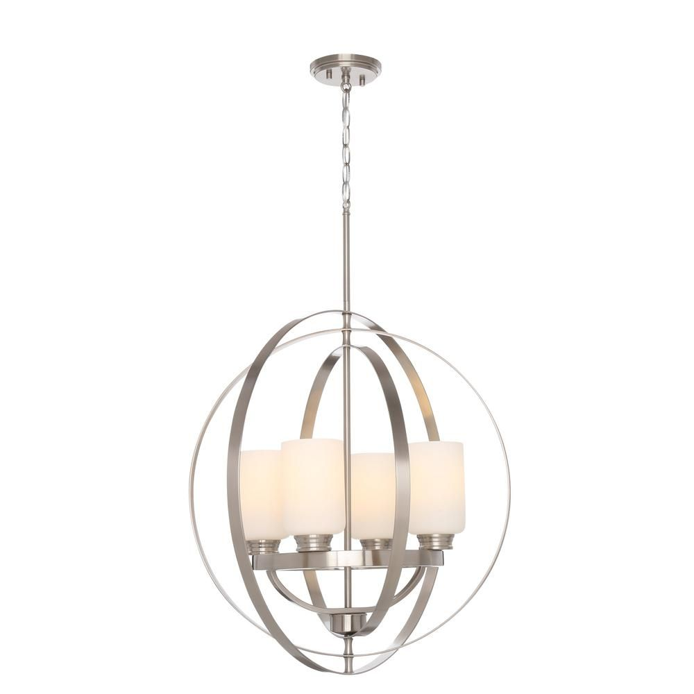 Home Decorators Collection 24 In 4 Light Brushed Nickel Chandelier With Etched White Glass Shades 7900hdc Brushed Nickel Chandelier Chandelier Shades Glass Shades